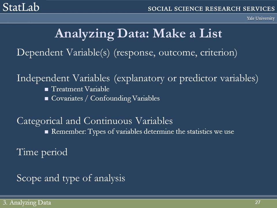 Analyzing Data: Make a List