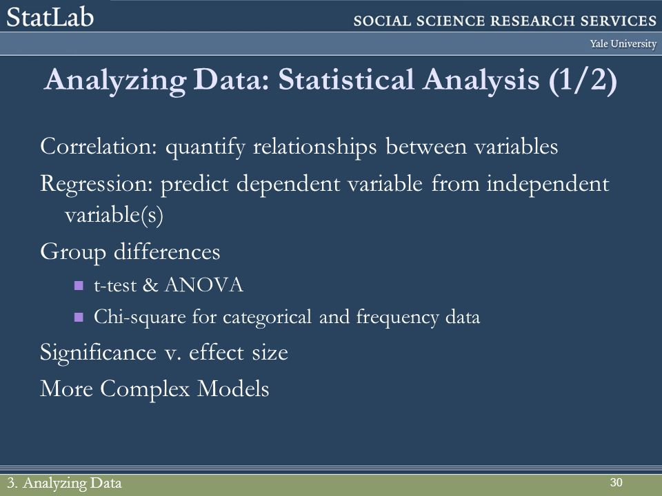Analyzing Data: Statistical Analysis (1/2)