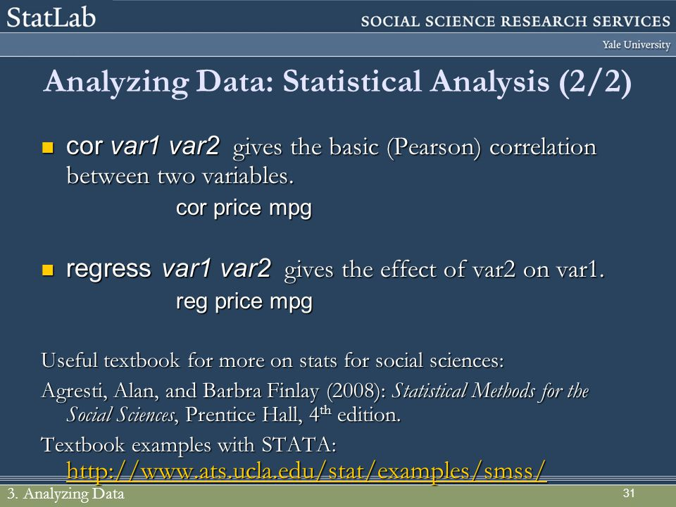 Analyzing Data: Statistical Analysis (2/2)