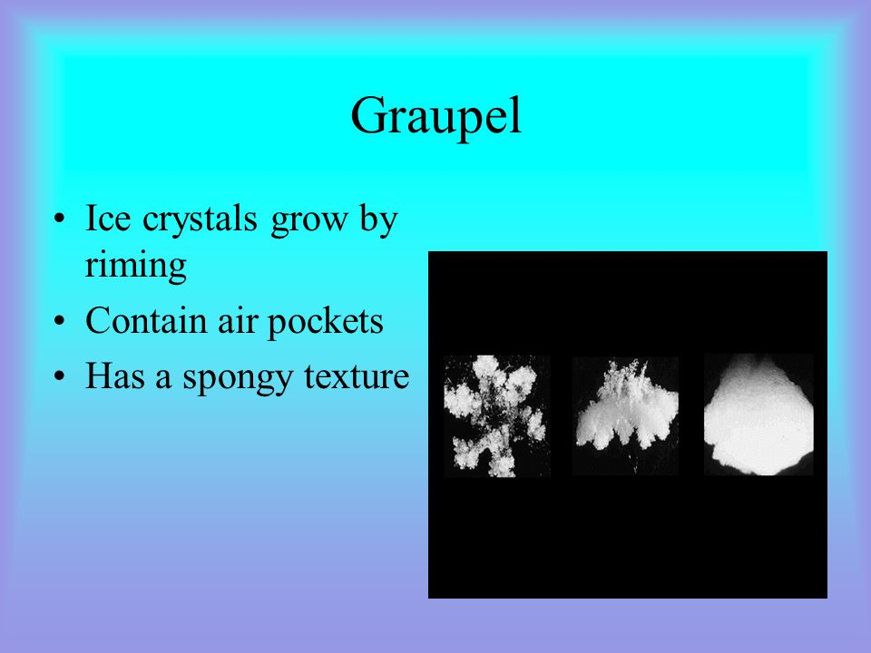 Graupel Ice crystals grow by riming Contain air pockets