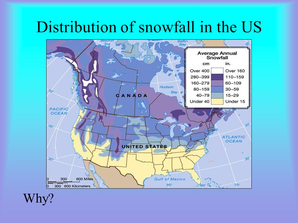 Distribution of snowfall in the US