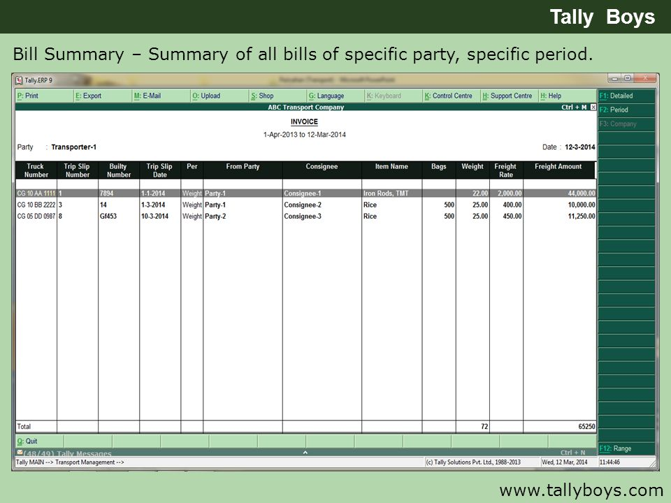 Tally Boys Bill Summary – Summary of all bills of specific party, specific period.