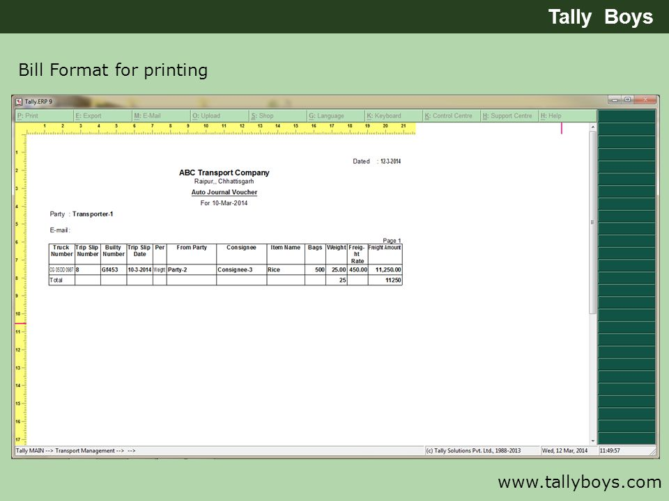 Tally Boys Bill Format for printing www.tallyboys.com