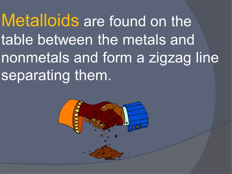Metalloids are found on the table between the metals and nonmetals and form a zigzag line separating them.