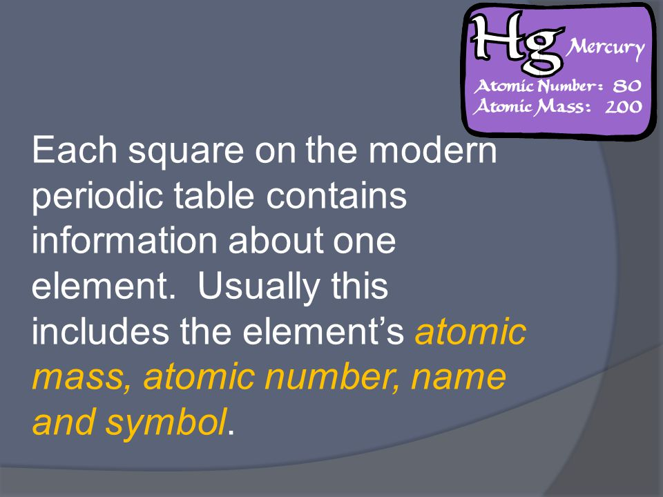 Each square on the modern periodic table contains information about one element.