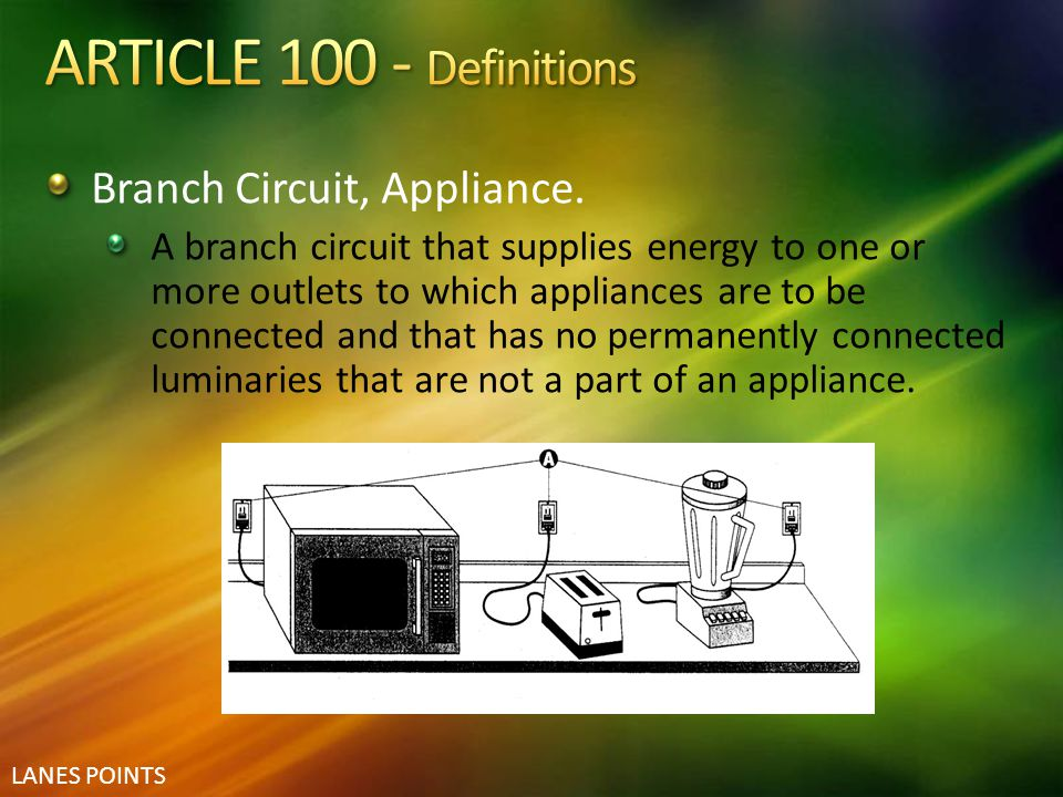 ARTICLE 100 - Definitions Branch Circuit, Appliance.