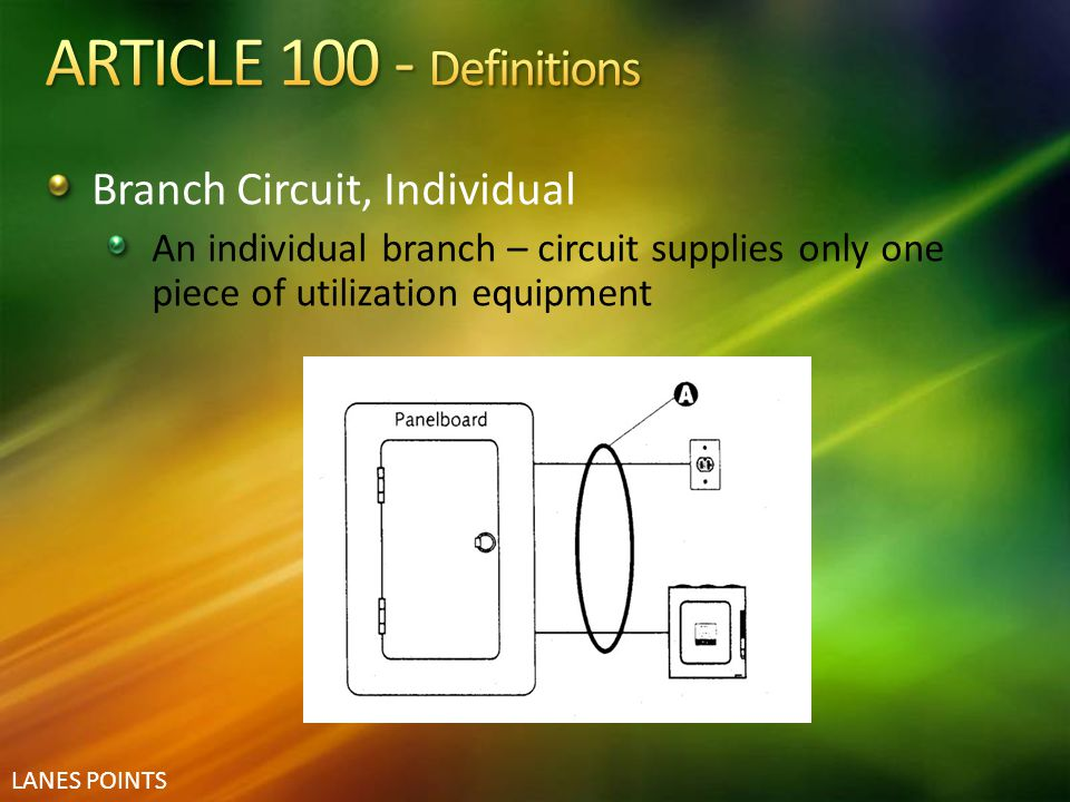 ARTICLE 100 - Definitions Branch Circuit, Individual