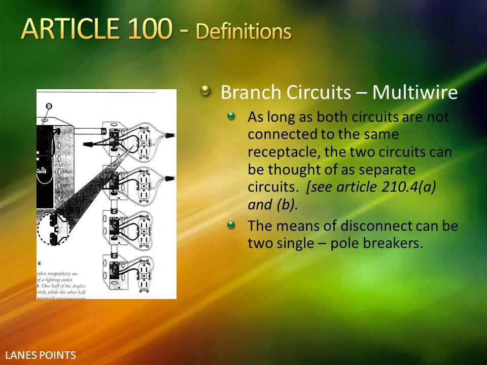 ARTICLE 100 - Definitions Branch Circuits – Multiwire