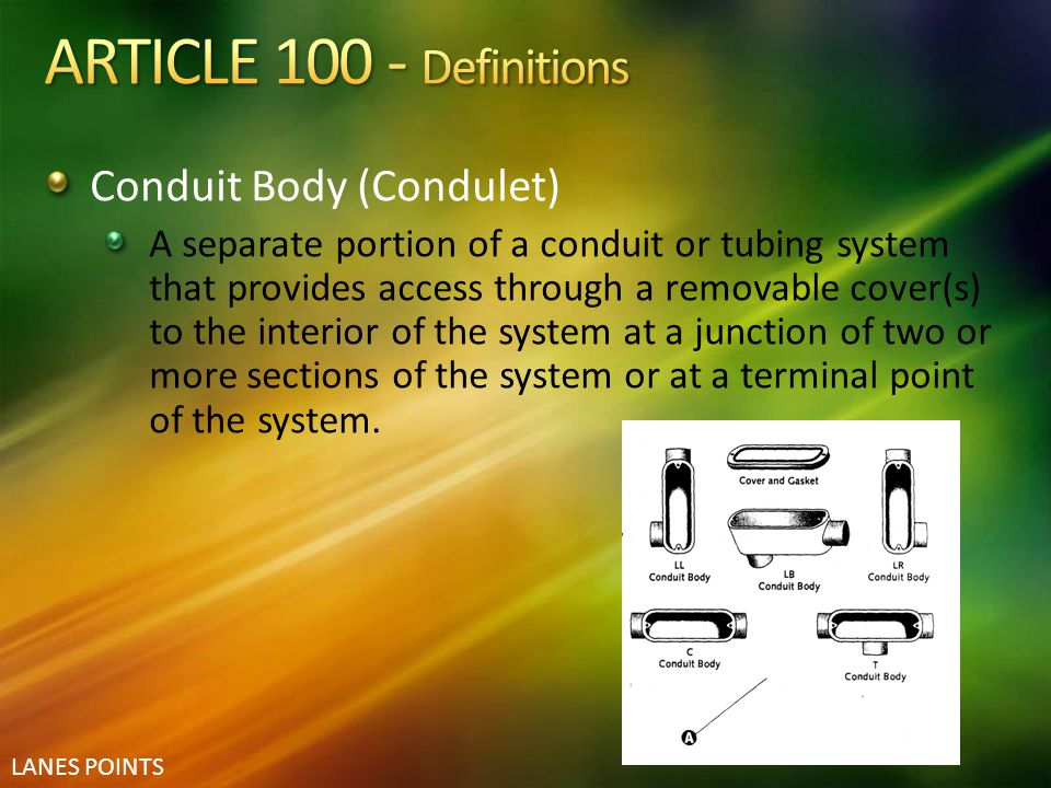 ARTICLE 100 - Definitions Conduit Body (Condulet)