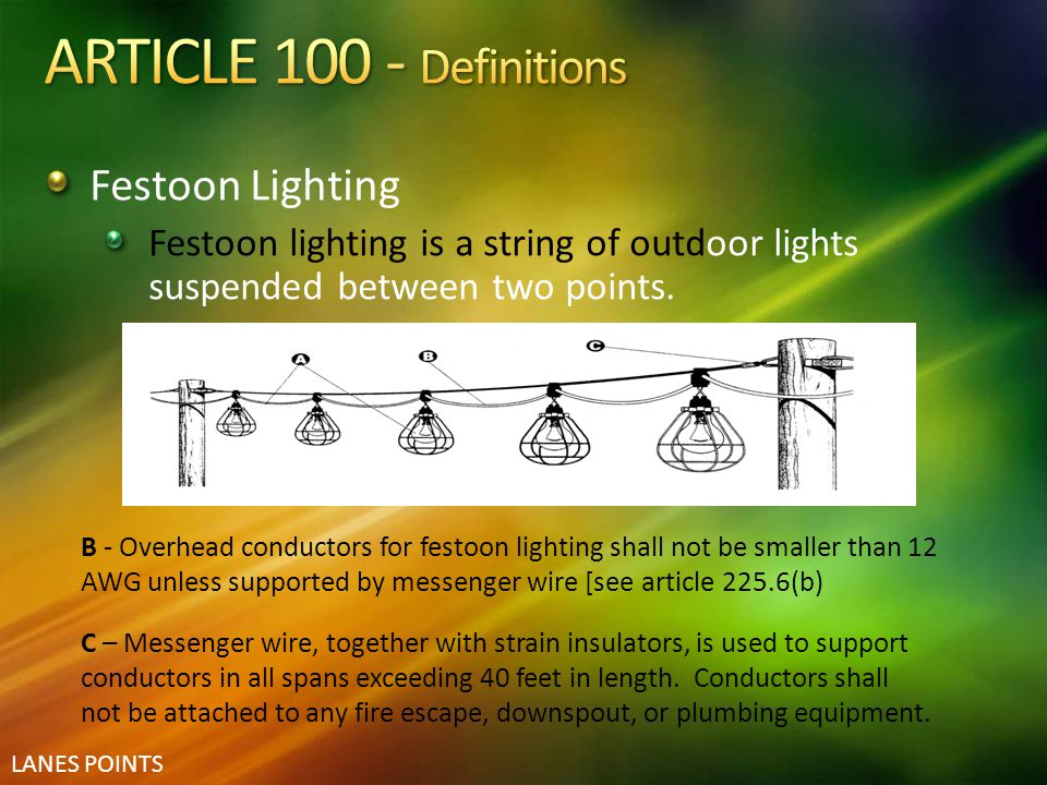 ARTICLE 100 - Definitions Festoon Lighting