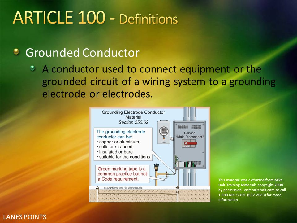 ARTICLE 100 - Definitions Grounded Conductor