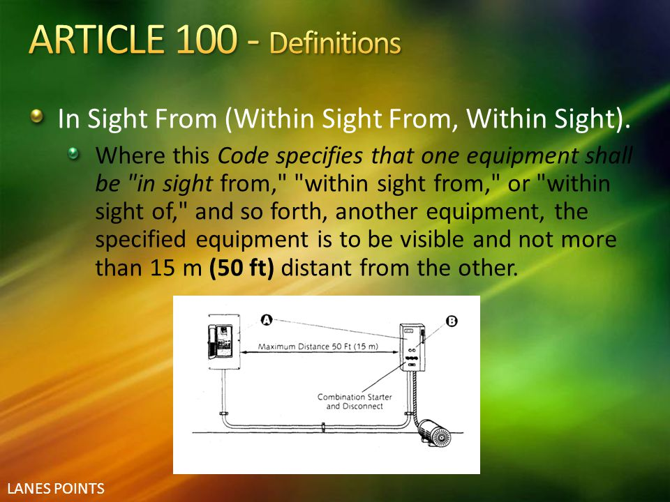 ARTICLE 100 - Definitions In Sight From (Within Sight From, Within Sight).