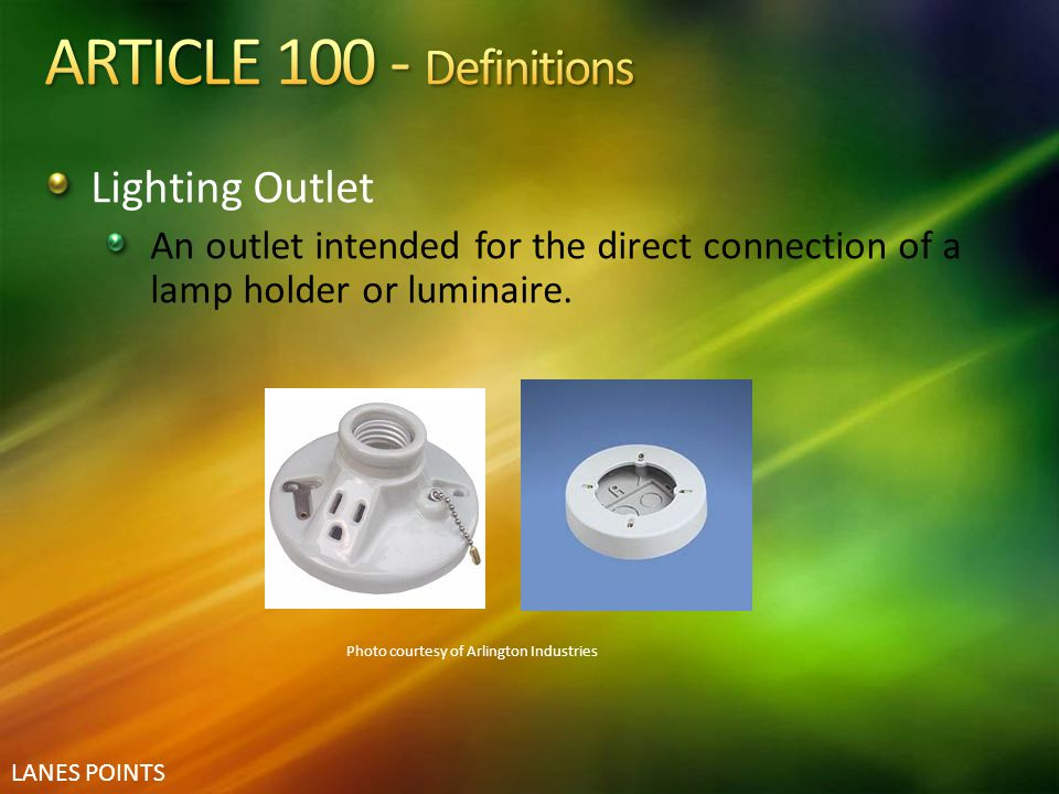 ARTICLE 100 - Definitions Lighting Outlet