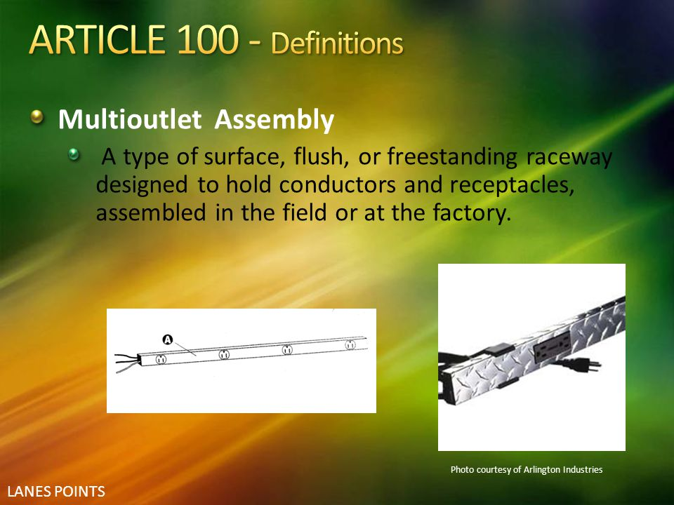 ARTICLE 100 - Definitions Multioutlet Assembly