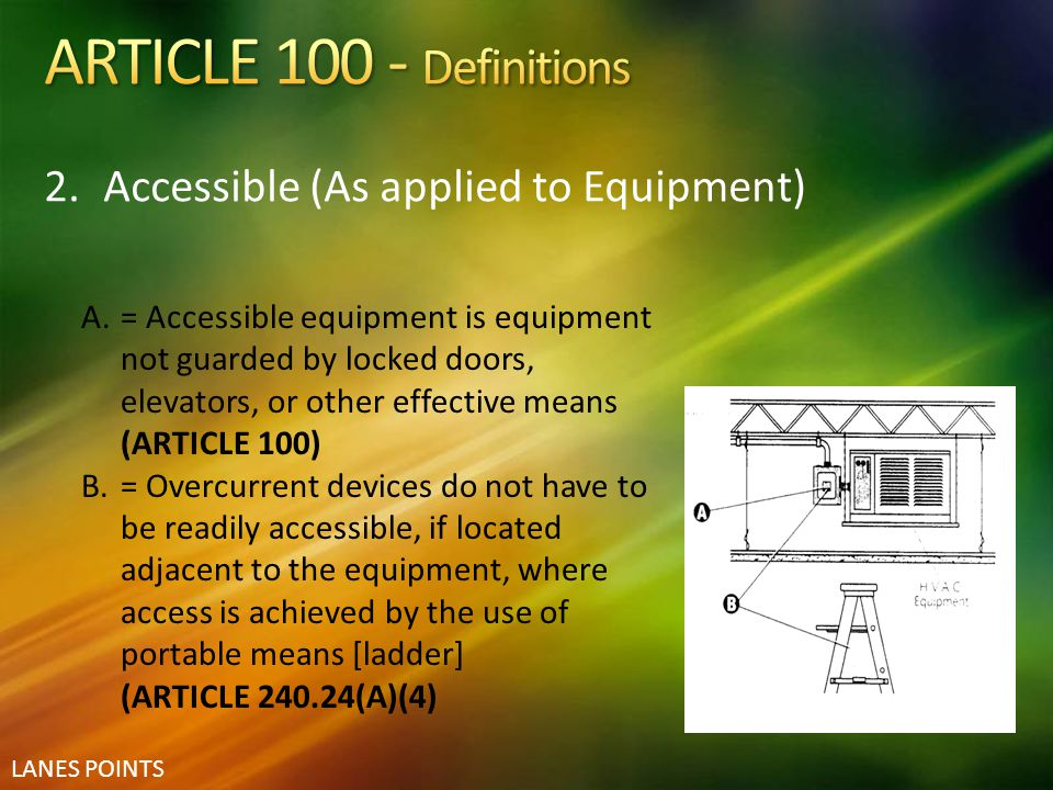 ARTICLE 100 - Definitions Accessible (As applied to Equipment)