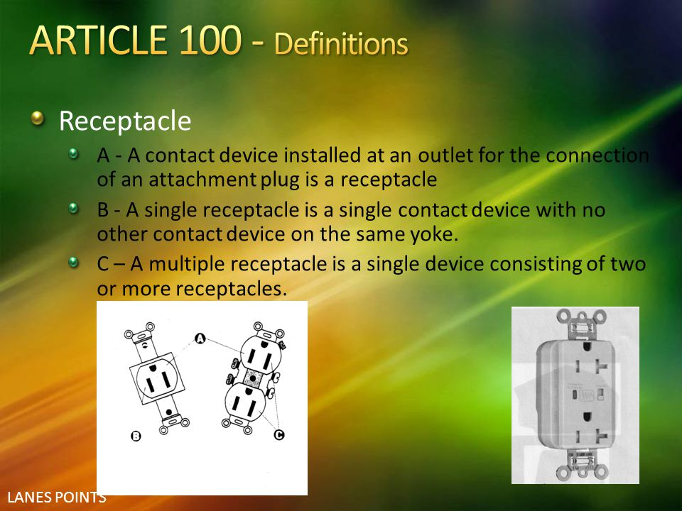 ARTICLE 100 - Definitions Receptacle