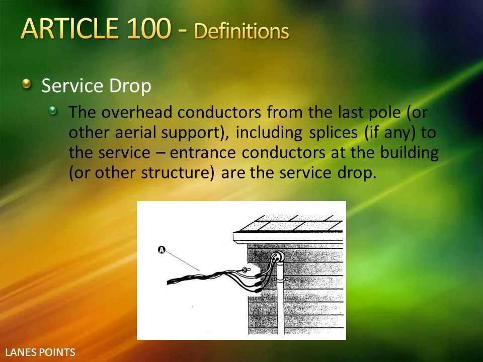 ARTICLE 100 - Definitions Service Drop