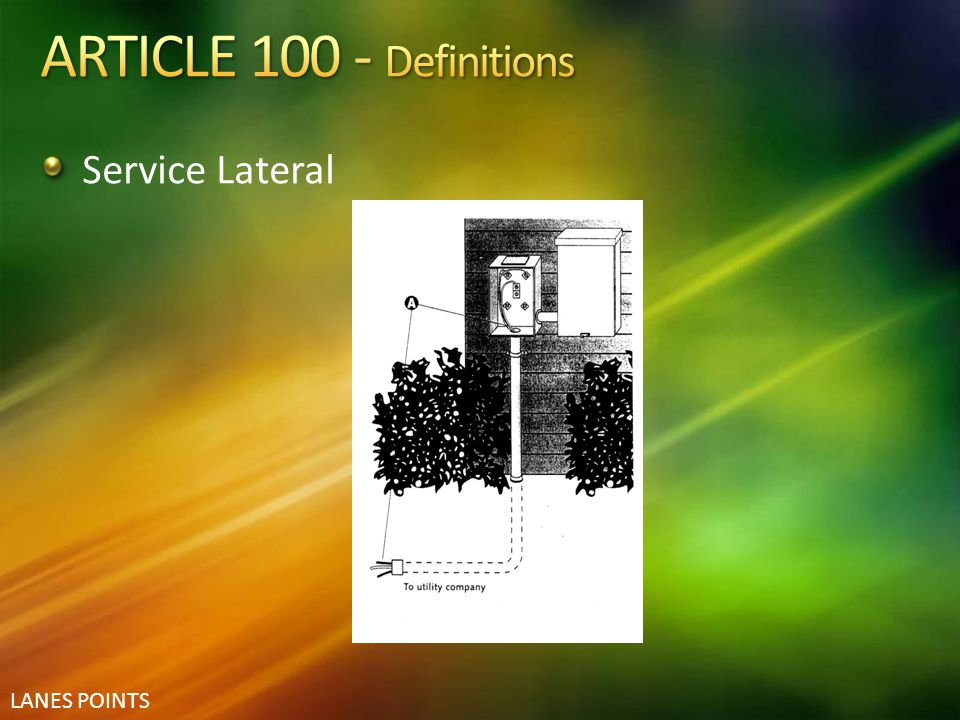 ARTICLE 100 - Definitions Service Lateral