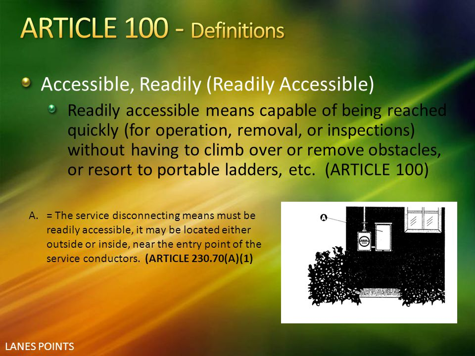 ARTICLE 100 - Definitions Accessible, Readily (Readily Accessible)
