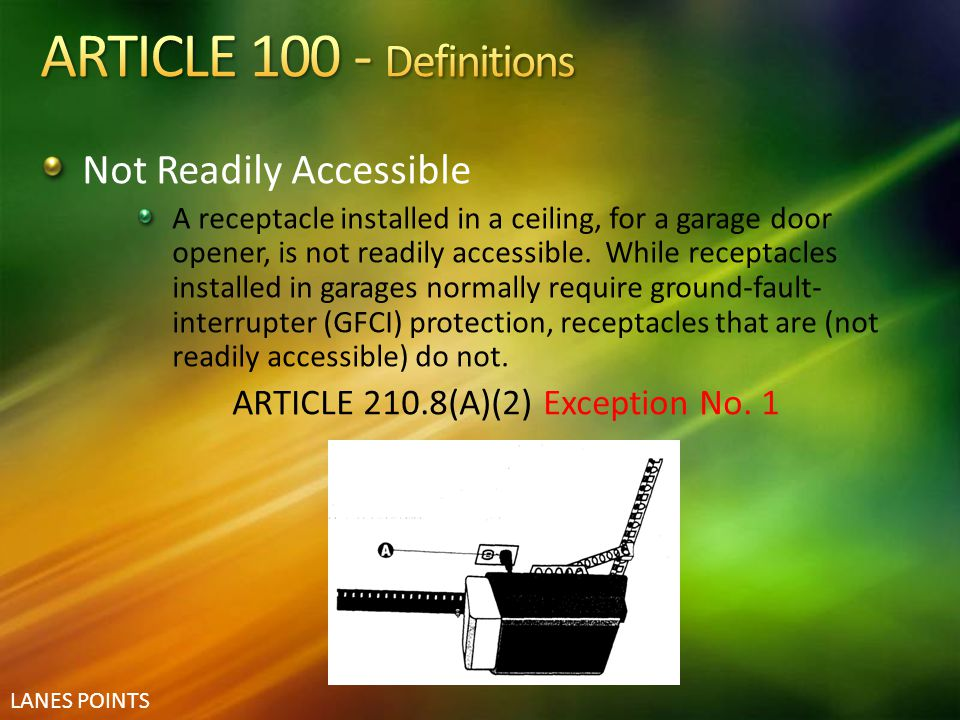 ARTICLE 100 - Definitions Not Readily Accessible