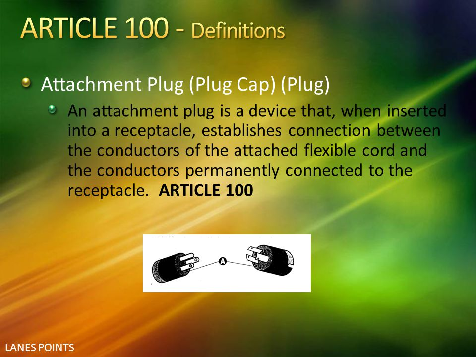 ARTICLE 100 - Definitions Attachment Plug (Plug Cap) (Plug)