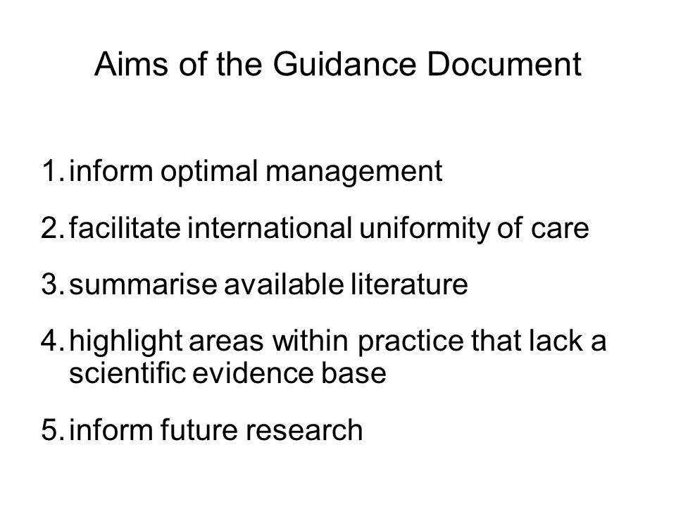 Aims of the Guidance Document