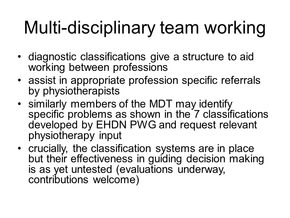 Multi-disciplinary team working