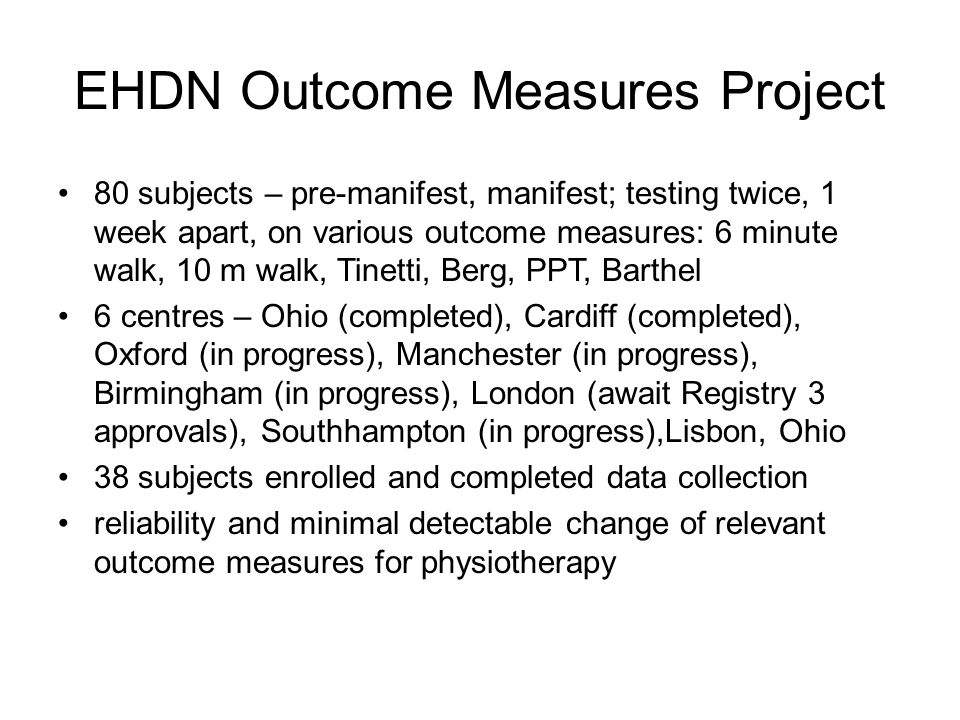 EHDN Outcome Measures Project
