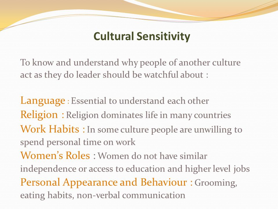 Cultural Sensitivity Language : Essential to understand each other