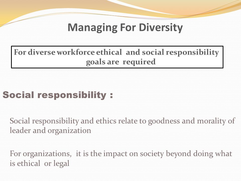 Managing For Diversity