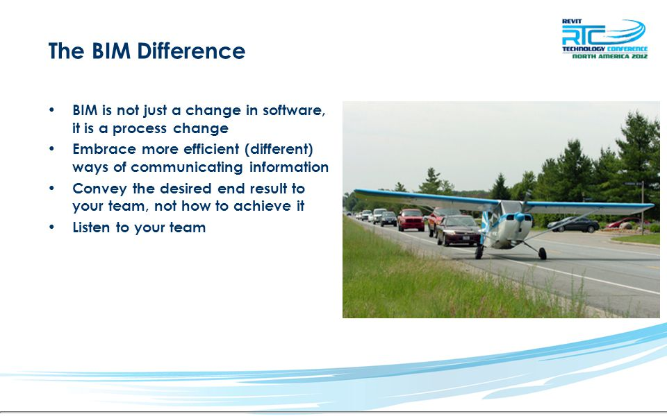 The BIM Difference BIM is not just a change in software, it is a process change.