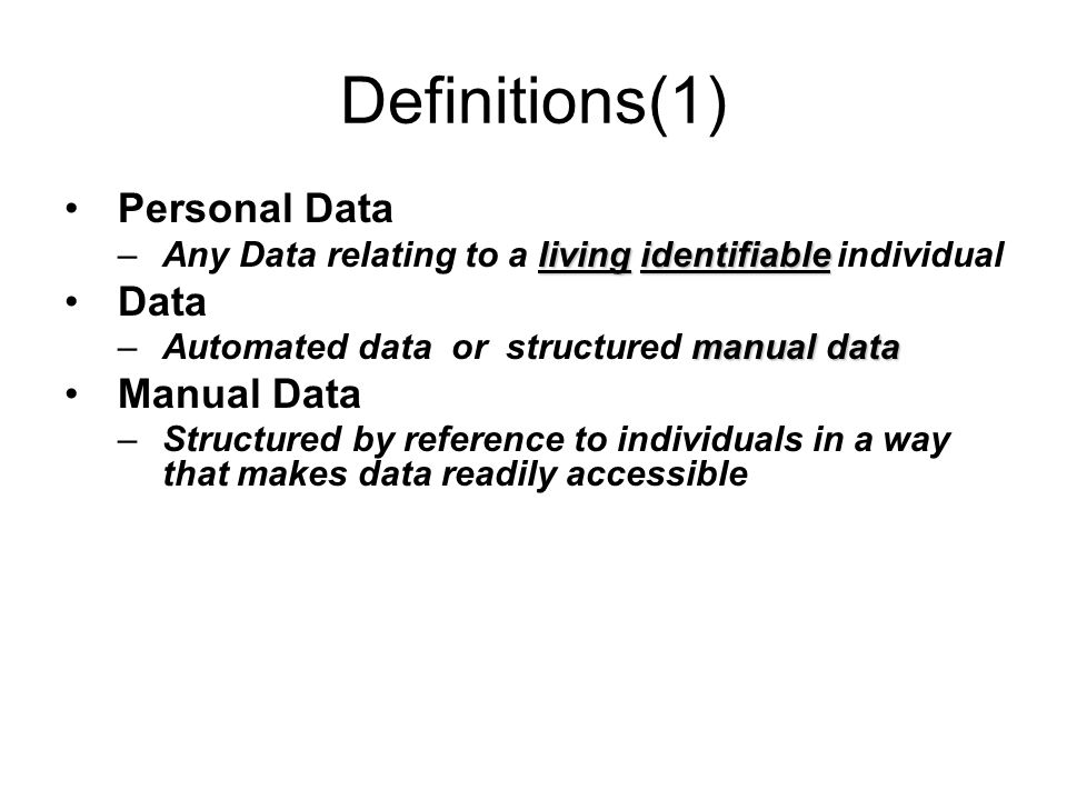 Definitions(1) Personal Data Data Manual Data