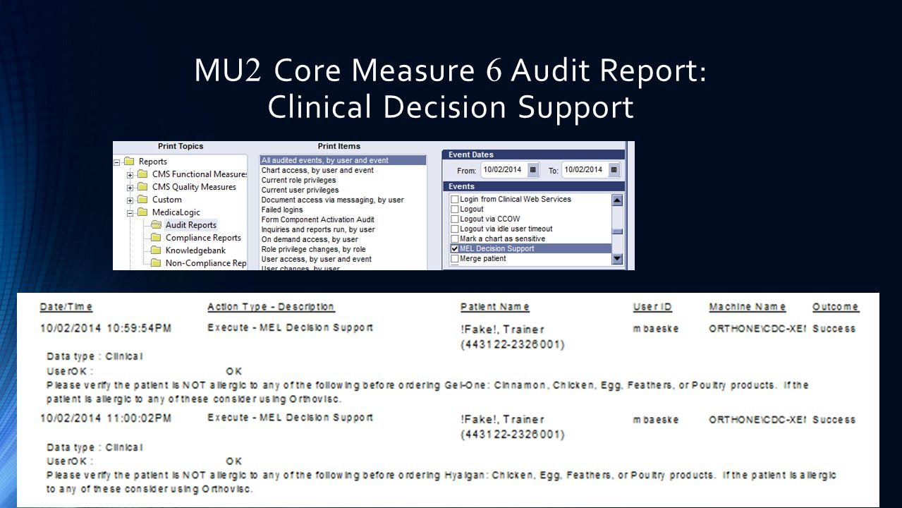 MU2 Core Measure 6 Audit Report: Clinical Decision Support