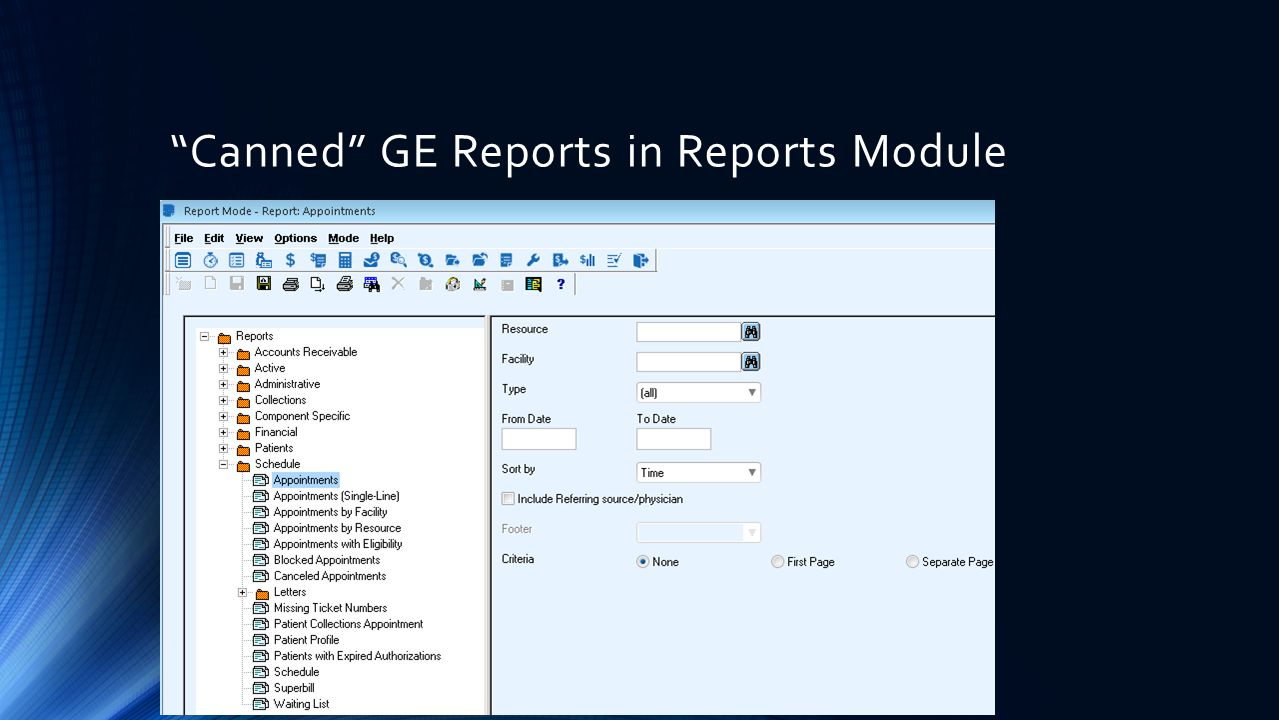 Canned GE Reports in Reports Module