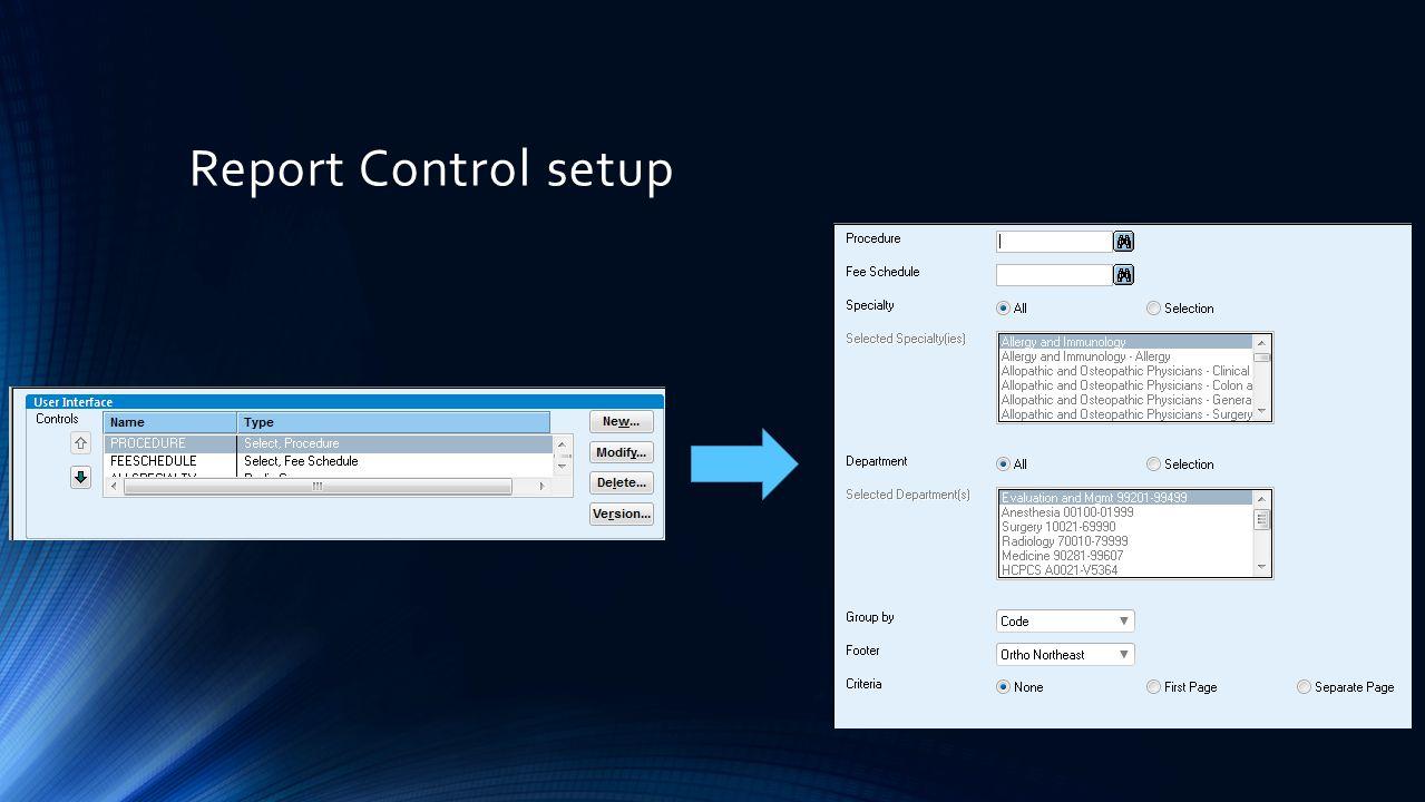 Report Control setup