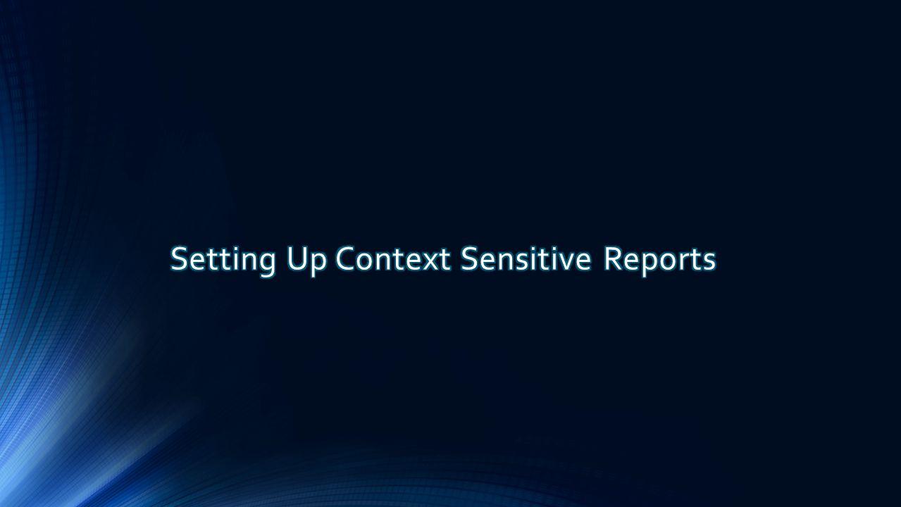Setting Up Context Sensitive Reports