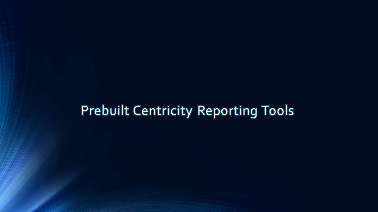 Prebuilt Centricity Reporting Tools