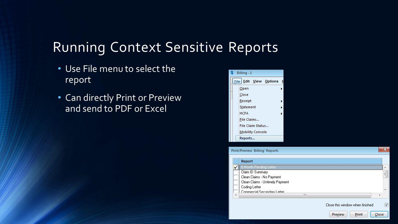 Running Context Sensitive Reports
