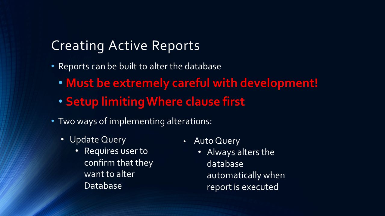 Creating Active Reports