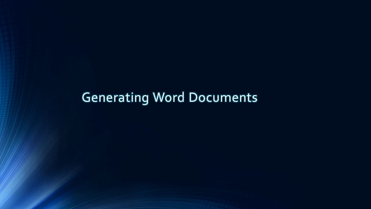 Generating Word Documents
