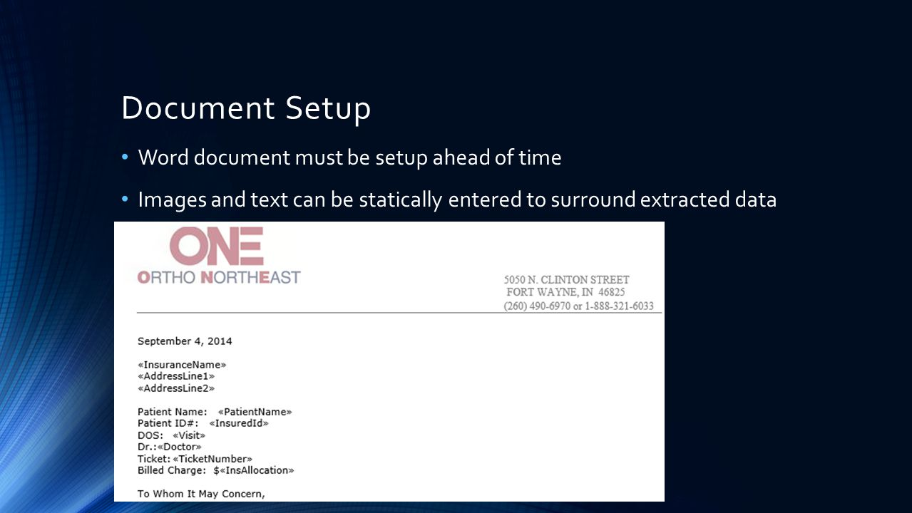 Document Setup Word document must be setup ahead of time