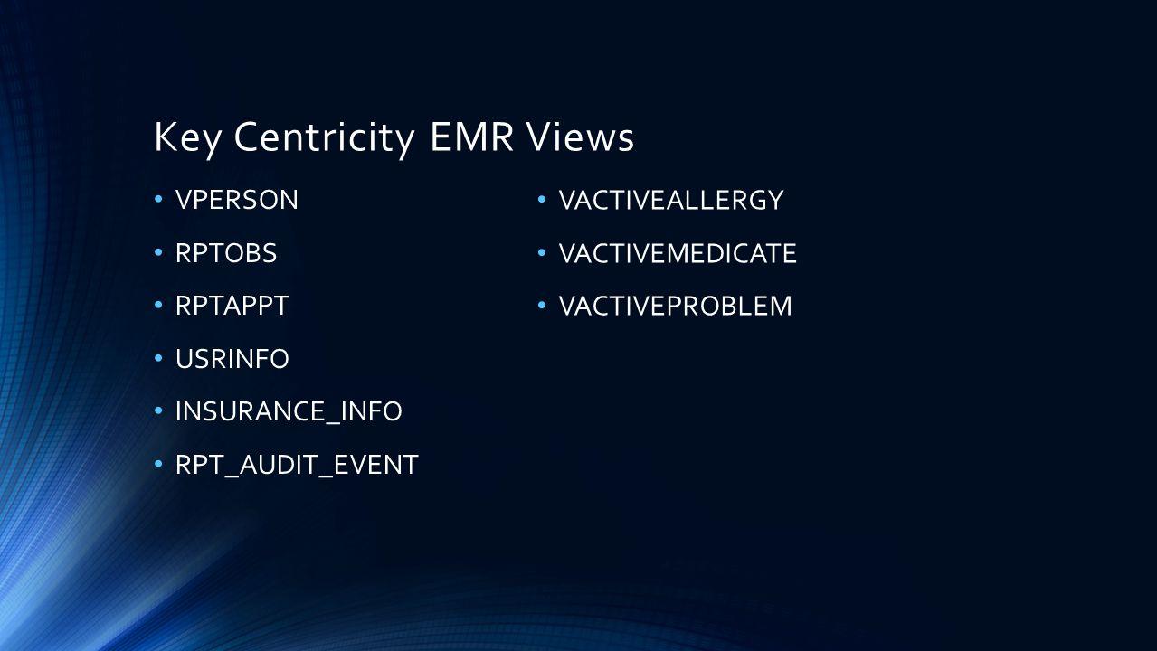 Key Centricity EMR Views