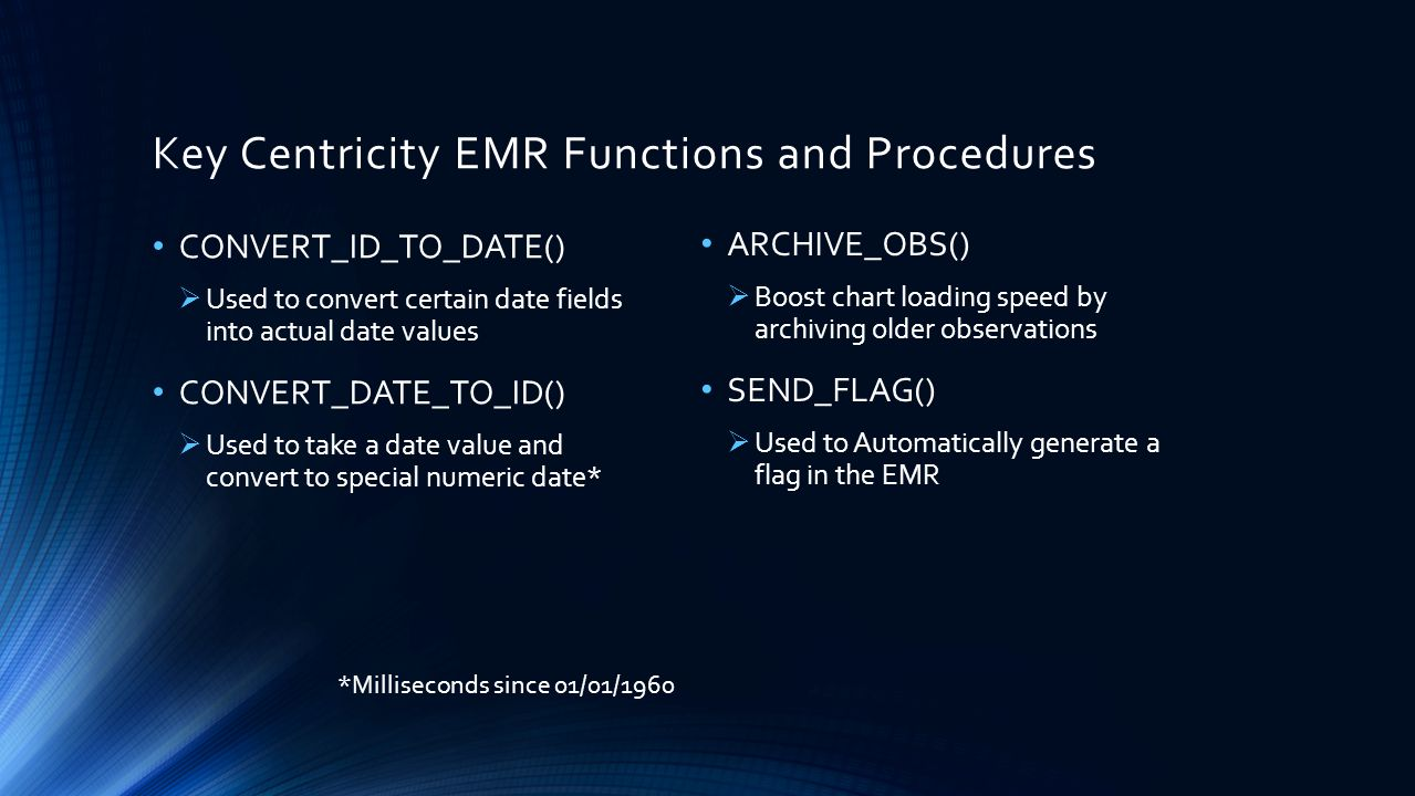 Key Centricity EMR Functions and Procedures