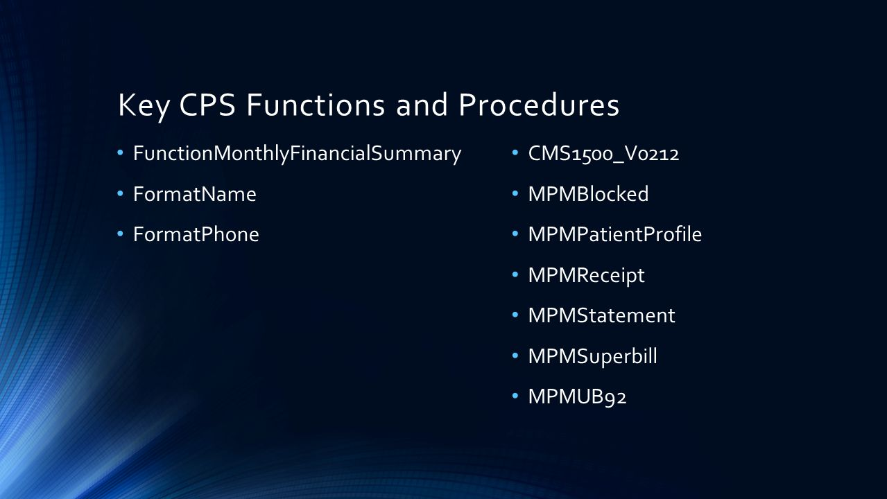 Key CPS Functions and Procedures