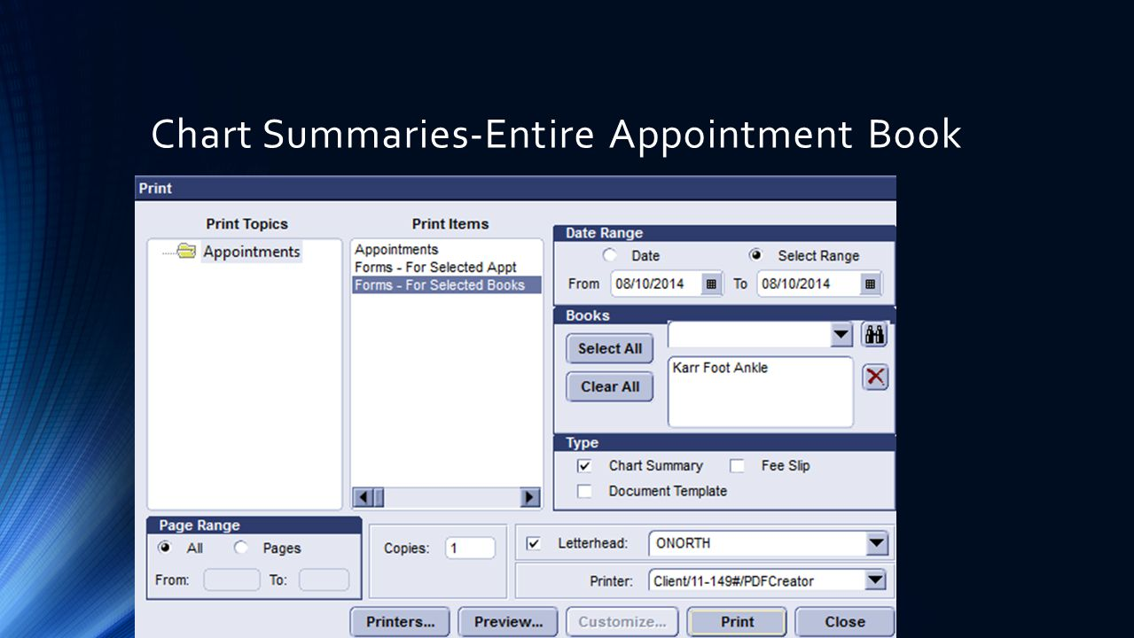 Chart Summaries-Entire Appointment Book