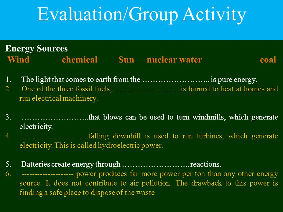 Evaluation/Group Activity