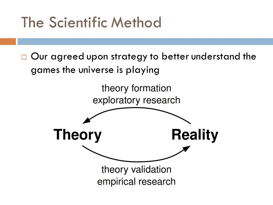 The Scientific Method Our agreed upon strategy to better understand the games the universe is playing.