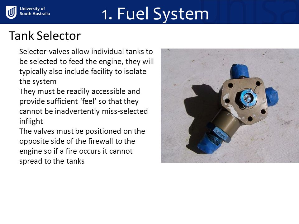 1. Fuel System Tank Selector