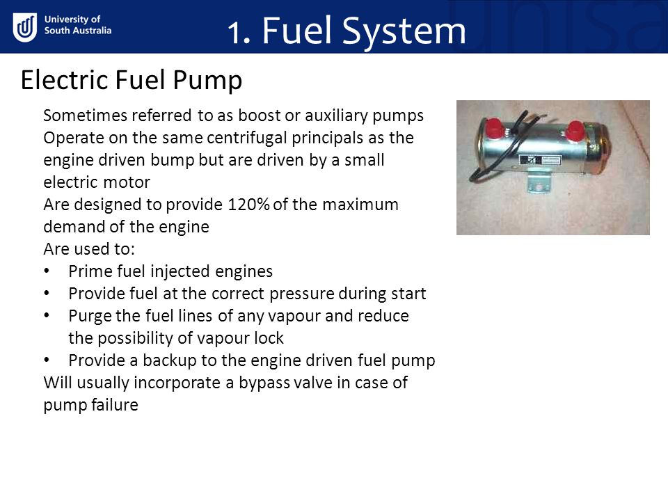 1. Fuel System Electric Fuel Pump