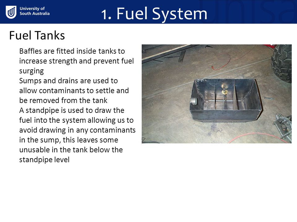 1. Fuel System Fuel Tanks. Baffles are fitted inside tanks to increase strength and prevent fuel surging.